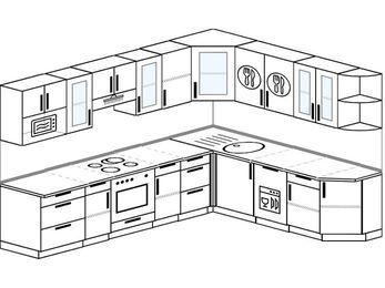Планировка угловой кухни 9,2 м², 290 на 230 см: верхние модули 72 см, встроенный духовой шкаф, посудомоечная машина, модуль под свч