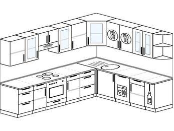 Планировка угловой кухни 9,2 м², 2900 на 2300 мм: верхние модули 720 мм, встроенный духовой шкаф, посудомоечная машина, корзина-бутылочница