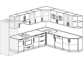 Планировка угловой кухни 9,2 м², 290 на 230 см: верхние модули 72 см, холодильник, встроенный духовой шкаф