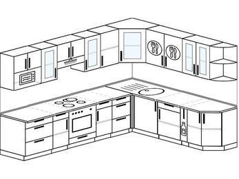 Планировка угловой кухни 9,2 м², 2900 на 2300 мм: верхние модули 720 мм, встроенный духовой шкаф, корзина-бутылочница, модуль под свч