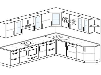 Планировка угловой кухни 9,2 м², 290 на 230 см: верхние модули 72 см, встроенный духовой шкаф