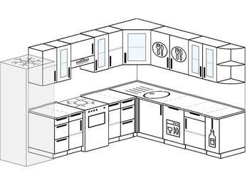Планировка угловой кухни 9,2 м², 290 на 230 см: верхние модули 72 см, холодильник, отдельно стоящая плита, посудомоечная машина, корзина-бутылочница