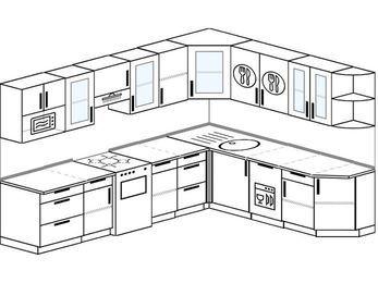 Планировка угловой кухни 9,2 м², 290 на 230 см: верхние модули 72 см, отдельно стоящая плита, посудомоечная машина, модуль под свч