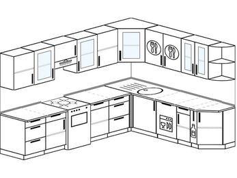 Планировка угловой кухни 9,2 м², 2900 на 2300 мм: верхние модули 720 мм, отдельно стоящая плита, посудомоечная машина, корзина-бутылочница