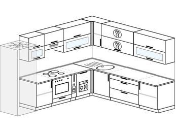 Планировка угловой кухни 10,1 м², 290 на 260 см: верхние модули 72 см, холодильник, встроенный духовой шкаф, корзина-бутылочница, посудомоечная машина