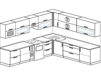 Планировка угловой кухни 10,1 м², 290 на 260 см: верхние модули 72 см, корзина-бутылочница, отдельно стоящая плита, модуль под свч