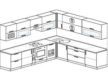 Планировка угловой кухни 10,1 м², 290 на 260 см: верхние модули 72 см, корзина-бутылочница, встроенный духовой шкаф, посудомоечная машина, модуль под свч