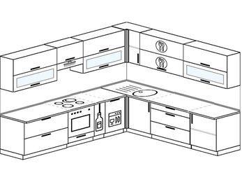 Планировка угловой кухни 10,1 м², 290 на 260 см: верхние модули 72 см, встроенный духовой шкаф, корзина-бутылочница, посудомоечная машина