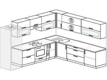 Планировка угловой кухни 10,1 м², 2900 на 2600 мм: верхние модули 720 мм, холодильник, встроенный духовой шкаф, корзина-бутылочница