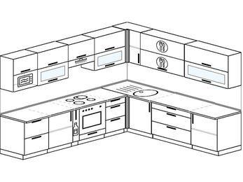 Планировка угловой кухни 10,1 м², 2900 на 2600 мм: верхние модули 720 мм, корзина-бутылочница, встроенный духовой шкаф, модуль под свч