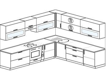 Планировка угловой кухни 10,1 м², 290 на 260 см: верхние модули 72 см, встроенный духовой шкаф, корзина-бутылочница