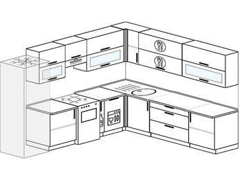 Планировка угловой кухни 10,1 м², 2900 на 2600 мм: верхние модули 720 мм, холодильник, отдельно стоящая плита, корзина-бутылочница, посудомоечная машина