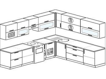 Планировка угловой кухни 10,1 м², 290 на 260 см: верхние модули 72 см, отдельно стоящая плита, корзина-бутылочница, посудомоечная машина, модуль под свч