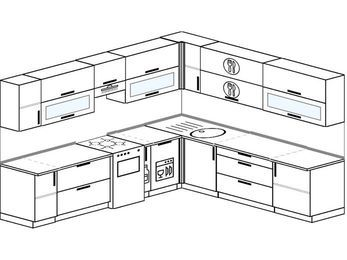 Планировка угловой кухни 10,1 м², 2900 на 2600 мм: верхние модули 720 мм, отдельно стоящая плита, корзина-бутылочница, посудомоечная машина