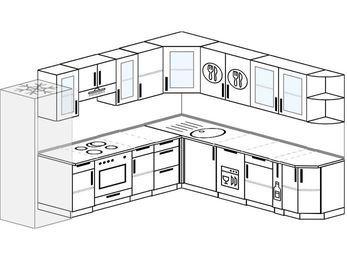 Планировка угловой кухни 10,1 м², 2900 на 2600 мм: верхние модули 720 мм, холодильник, встроенный духовой шкаф, посудомоечная машина, корзина-бутылочница