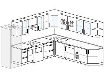 Планировка угловой кухни 10,1 м², 290 на 260 см: верхние модули 72 см, холодильник, отдельно стоящая плита, корзина-бутылочница