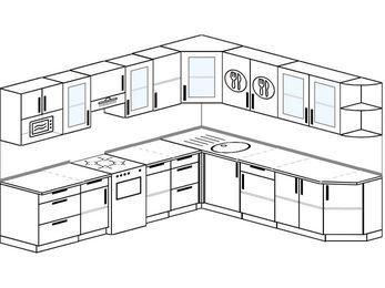 Планировка угловой кухни 10,1 м², 290 на 260 см: верхние модули 72 см, отдельно стоящая плита, модуль под свч