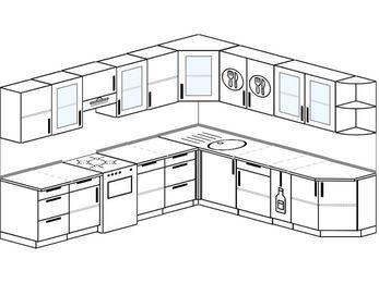 Планировка угловой кухни 10,1 м², 290 на 260 см: верхние модули 72 см, отдельно стоящая плита, корзина-бутылочница
