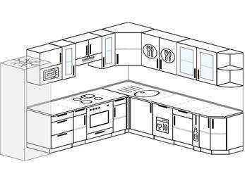 Планировка угловой кухни 10,1 м², 290 на 260 см: верхние модули 72 см, холодильник, встроенный духовой шкаф, посудомоечная машина, корзина-бутылочница, модуль под свч