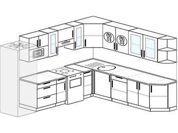 Планировка угловой кухни 10,1 м², 290 на 260 см: верхние модули 72 см, холодильник, отдельно стоящая плита, модуль под свч