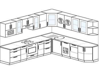 Планировка угловой кухни 10,1 м², 290 на 260 см: верхние модули 72 см, встроенный духовой шкаф, посудомоечная машина, модуль под свч