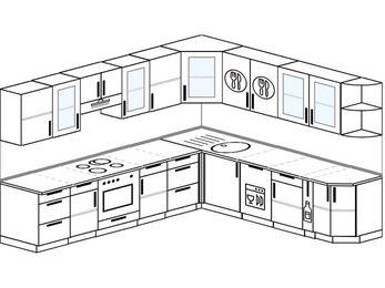 Планировка угловой кухни 10,1 м², 290 на 260 см: верхние модули 72 см, встроенный духовой шкаф, посудомоечная машина, корзина-бутылочница
