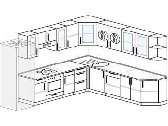 Планировка угловой кухни 10,1 м², 290 на 260 см: верхние модули 72 см, холодильник, встроенный духовой шкаф