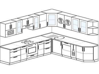Планировка угловой кухни 10,1 м², 2900 на 2600 мм: верхние модули 720 мм, встроенный духовой шкаф, корзина-бутылочница, модуль под свч