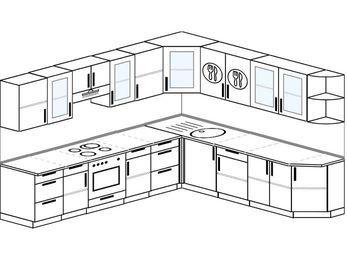 Планировка угловой кухни 10,1 м², 290 на 260 см: верхние модули 72 см, встроенный духовой шкаф