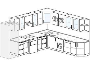 Планировка угловой кухни 10,1 м², 290 на 260 см: верхние модули 72 см, холодильник, отдельно стоящая плита, посудомоечная машина
