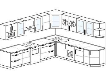 Планировка угловой кухни 10,1 м², 290 на 260 см: верхние модули 72 см, отдельно стоящая плита, посудомоечная машина, модуль под свч