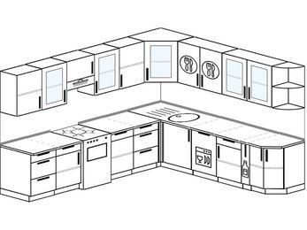 Планировка угловой кухни 10,1 м², 290 на 260 см: верхние модули 72 см, отдельно стоящая плита, посудомоечная машина, корзина-бутылочница