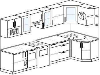 Угловая кухня 6,3 м² (3,0✕1,2 м), верхние модули 72 см, модуль под свч, отдельно стоящая плита