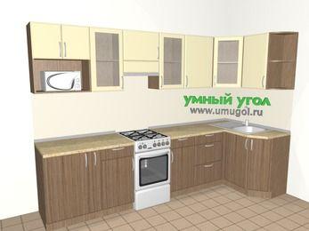 Угловая кухня МДФ матовый 6,3 м², 3000 на 1200 мм, Ваниль / Лиственница бронзовая, верхние модули 720 мм, модуль под свч, отдельно стоящая плита