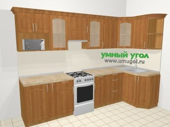 Угловая кухня МДФ матовый в классическом стиле 6,3 м², 300 на 120 см, Вишня, верхние модули 72 см, модуль под свч, отдельно стоящая плита