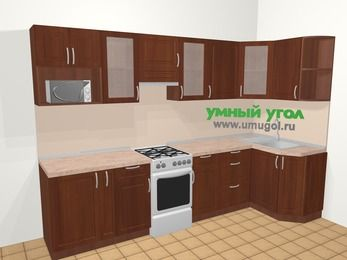 Угловая кухня МДФ матовый в классическом стиле 6,3 м², 300 на 120 см, Вишня темная, верхние модули 72 см, модуль под свч, отдельно стоящая плита