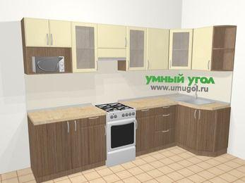 Угловая кухня МДФ матовый в современном стиле 6,3 м², 300 на 120 см, Ваниль / Лиственница бронзовая, верхние модули 72 см, модуль под свч, отдельно стоящая плита