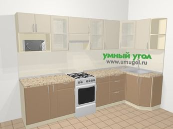 Угловая кухня МДФ матовый в современном стиле 6,3 м², 300 на 120 см, Керамик / Кофе, верхние модули 72 см, модуль под свч, отдельно стоящая плита