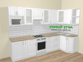 Угловая кухня МДФ матовый  в скандинавском стиле 6,3 м², 300 на 120 см, Белый, верхние модули 72 см, модуль под свч, отдельно стоящая плита