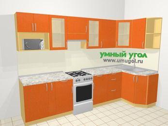 Угловая кухня МДФ металлик в современном стиле 6,3 м², 300 на 120 см, Оранжевый металлик, верхние модули 72 см, модуль под свч, отдельно стоящая плита