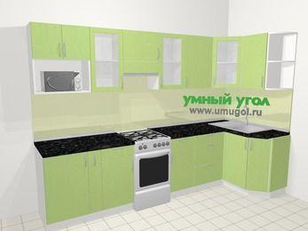 Угловая кухня МДФ металлик в современном стиле 6,3 м², 300 на 120 см, Салатовый металлик, верхние модули 72 см, модуль под свч, отдельно стоящая плита