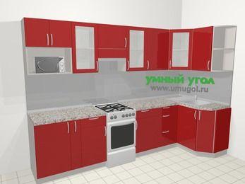 Угловая кухня МДФ глянец в современном стиле 6,3 м², 300 на 120 см, Красный, верхние модули 72 см, модуль под свч, отдельно стоящая плита