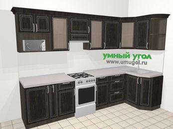 Угловая кухня МДФ патина в классическом стиле 6,3 м², 300 на 120 см, Венге, верхние модули 72 см, модуль под свч, отдельно стоящая плита