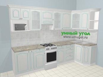 Угловая кухня МДФ патина в стиле прованс 6,3 м², 300 на 120 см, Лиственница белая, верхние модули 72 см, модуль под свч, отдельно стоящая плита