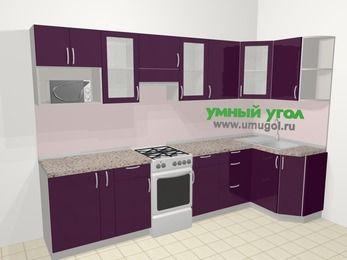 Угловая кухня МДФ глянец в современном стиле 6,3 м², 300 на 120 см, Баклажан, верхние модули 72 см, модуль под свч, отдельно стоящая плита