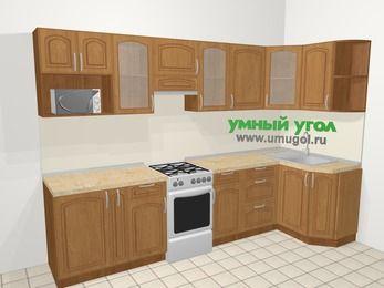 Угловая кухня МДФ патина в классическом стиле 6,3 м², 300 на 120 см, Ольха, верхние модули 72 см, модуль под свч, отдельно стоящая плита