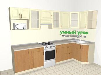 Угловая кухня из МДФ + ЛДСП 6,3 м², 3000 на 1200 мм, Ваниль / Ольха, верхние модули 720 мм, модуль под свч, отдельно стоящая плита