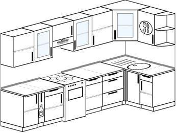 Угловая кухня 6,3 м² (3,0✕1,2 м), верхние модули 72 см, отдельно стоящая плита