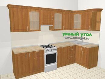 Угловая кухня МДФ матовый в классическом стиле 6,3 м², 300 на 120 см, Вишня, верхние модули 72 см, отдельно стоящая плита