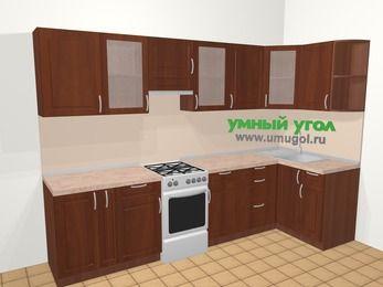 Угловая кухня МДФ матовый в классическом стиле 6,3 м², 300 на 120 см, Вишня темная, верхние модули 72 см, отдельно стоящая плита
